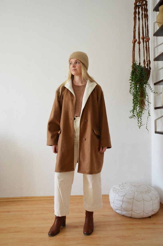 Vintage coat fleece jacket camel brown white S - L