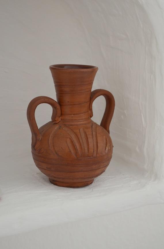 Vintage jug ceramic vase amphora 1960s rust brown rust brown terracotta home décor mid century danish design studio pottery