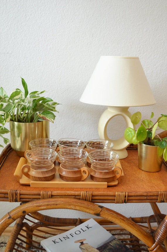 Set of 6 vintage wooden glasses with tray, drinking glasses, tea glasses, glasses cups cup boho home decor