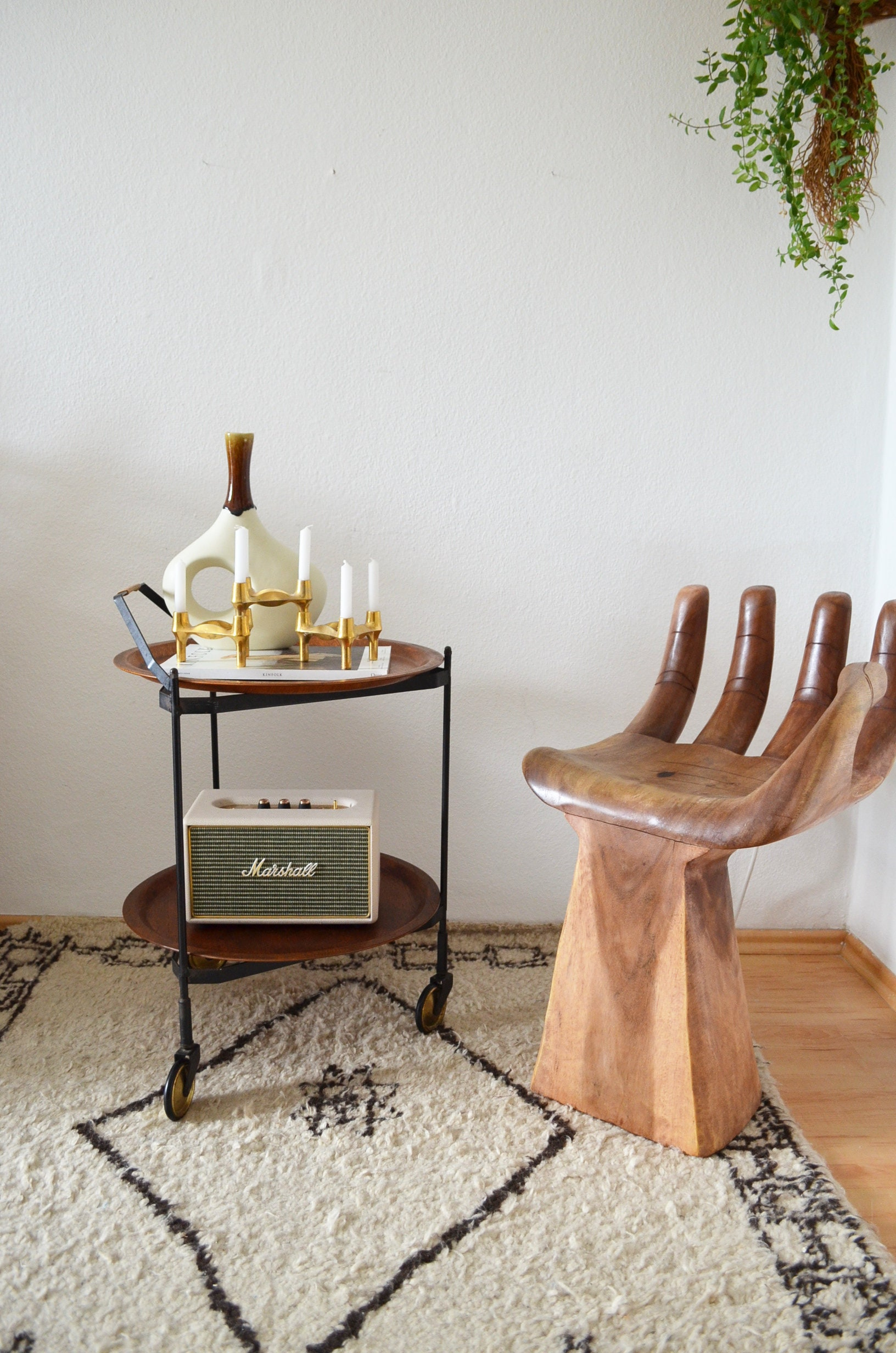 Vintage Bar Cart Serving Trolley Round Brass Bar Cart Wood Mid Century Side Table
