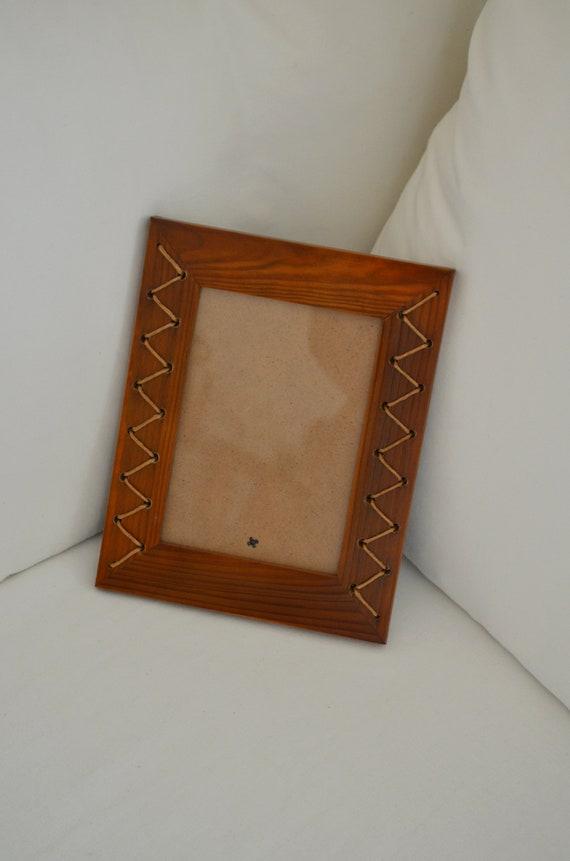 Vintage wood picture frame boho wicker frame