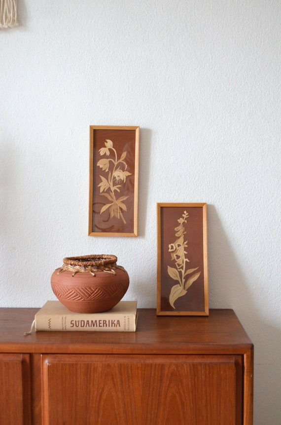 Vintage set straw painting / mural with flowers rust red natural burned orange wood