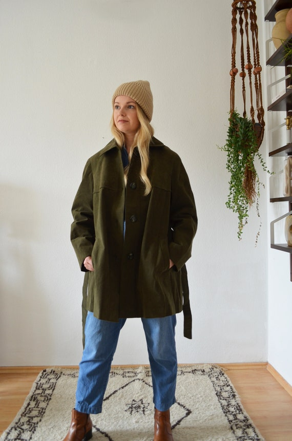 Vintage leather coat suede coat leather dark green dark green S - M