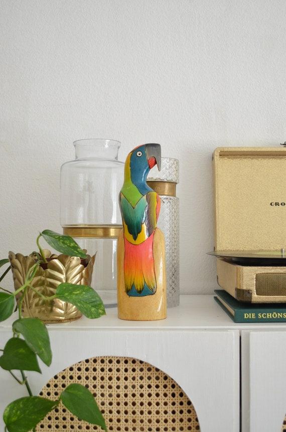 Vintage balsa wood bird boho parrot hand-painted