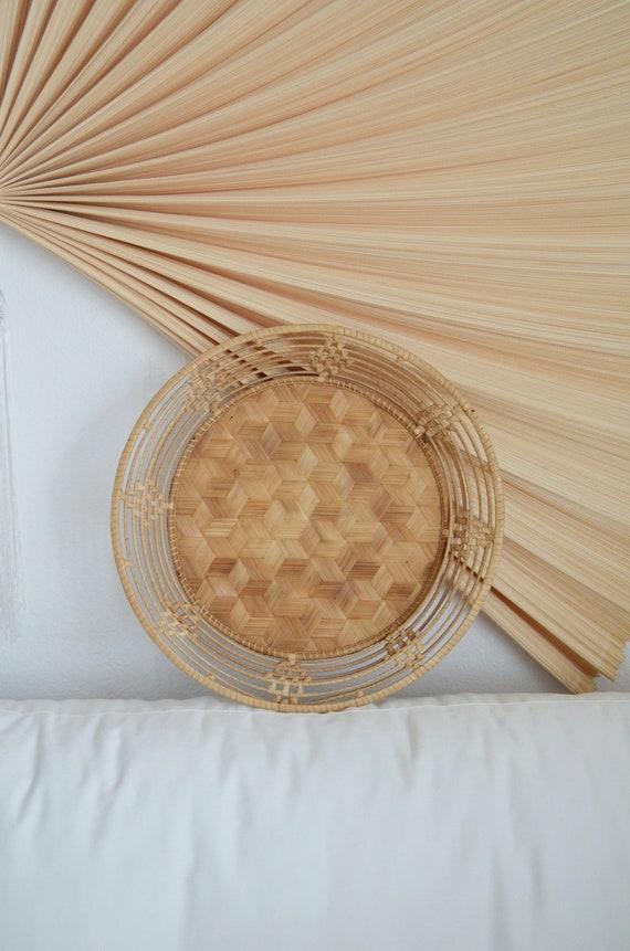 Vintage bast tray round boho wicker tray bohemian