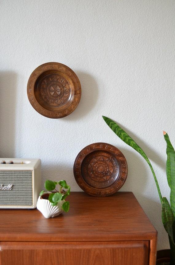 Vintage bohemian wooden plate set wall plate plate turkish oriental dark wood tray plate moroccan boho
