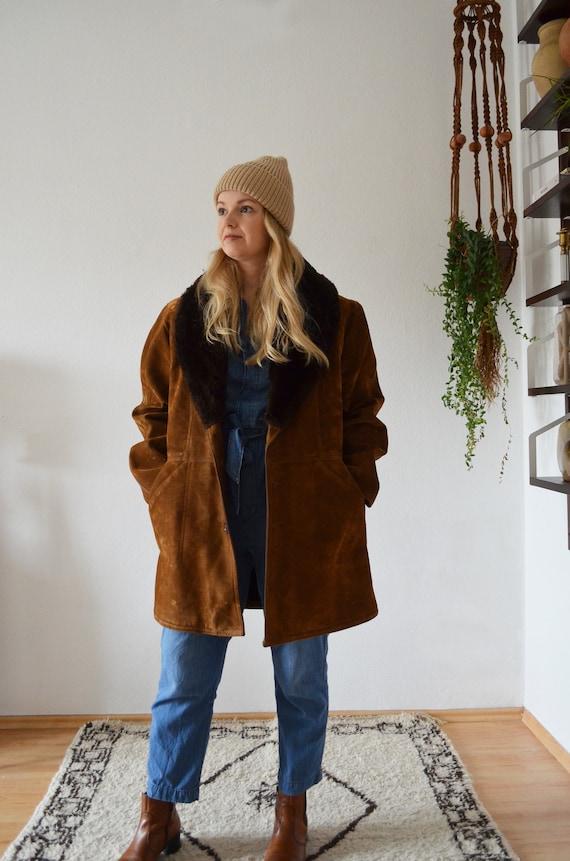 Vintage Shearling Coat Jacket Brown S - M