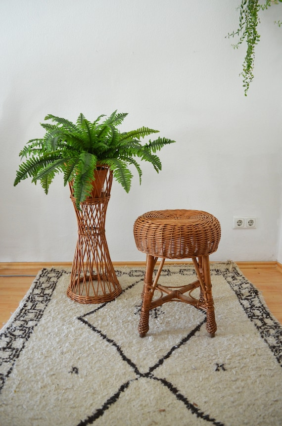 Vintage rattan plant Stand plant stand flower stand