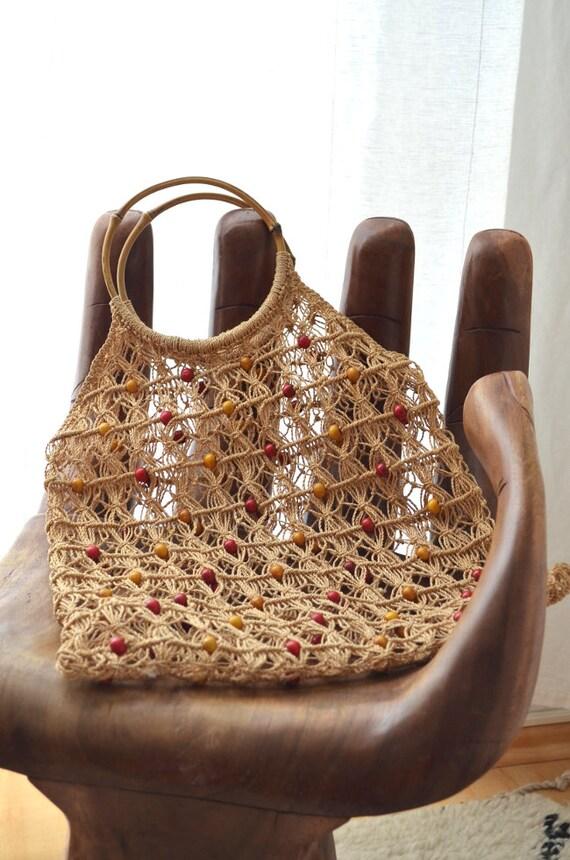 Vintage Macrame bag bag hand made macrium hippie handbag boho