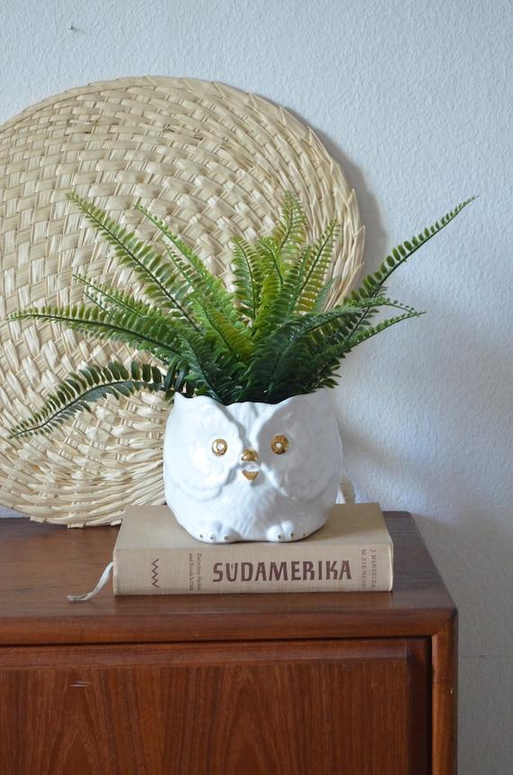 Vintage flower pot owl pottery white gold boho planter