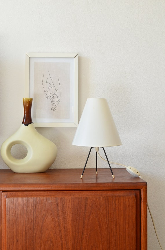 50s Tripod table lamp black and white