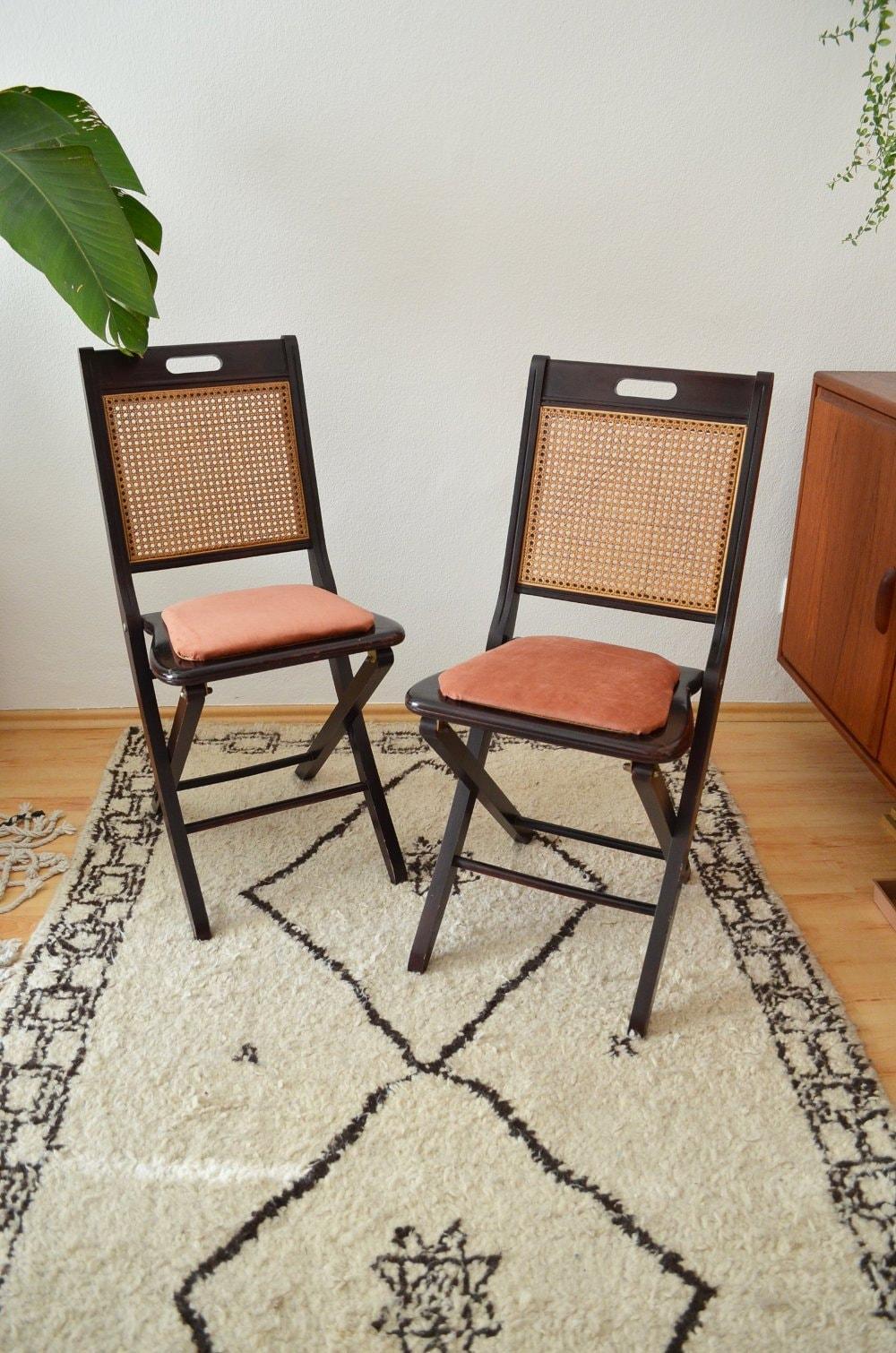 Vintage Mid Century Rattan Chair Folding Chair Dark Wood