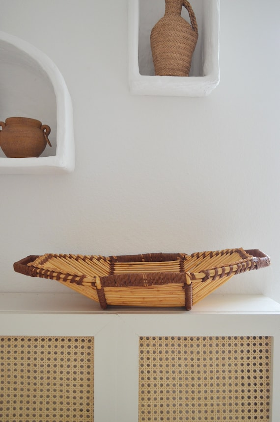 Vintage bamboo bowl fruit basket boho rattan banana ship