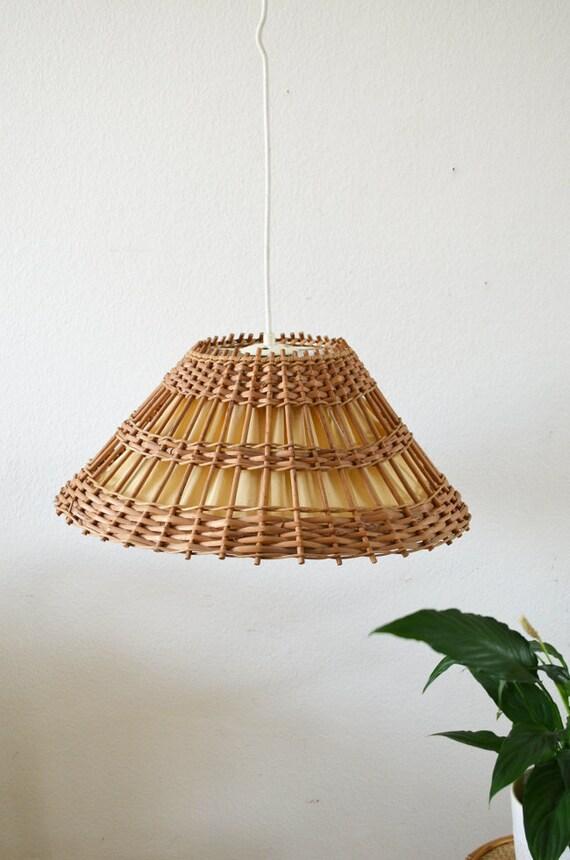 Rattan Hangelampe Rund Vintage Lampenschirm Wicker Hanging Etsy