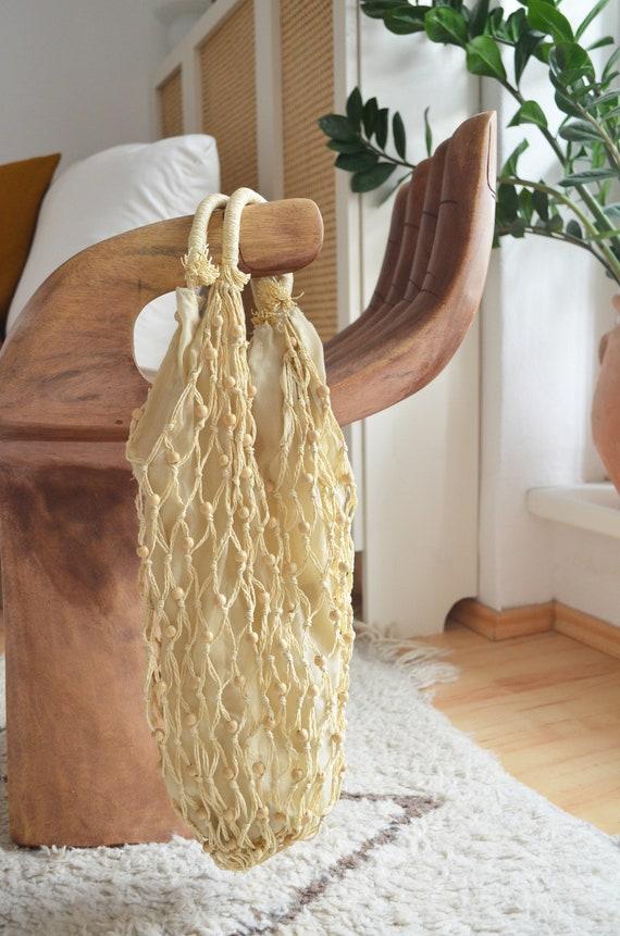 Vintage jute cotton macrame bag bag handmade macrame hippie handbag boho