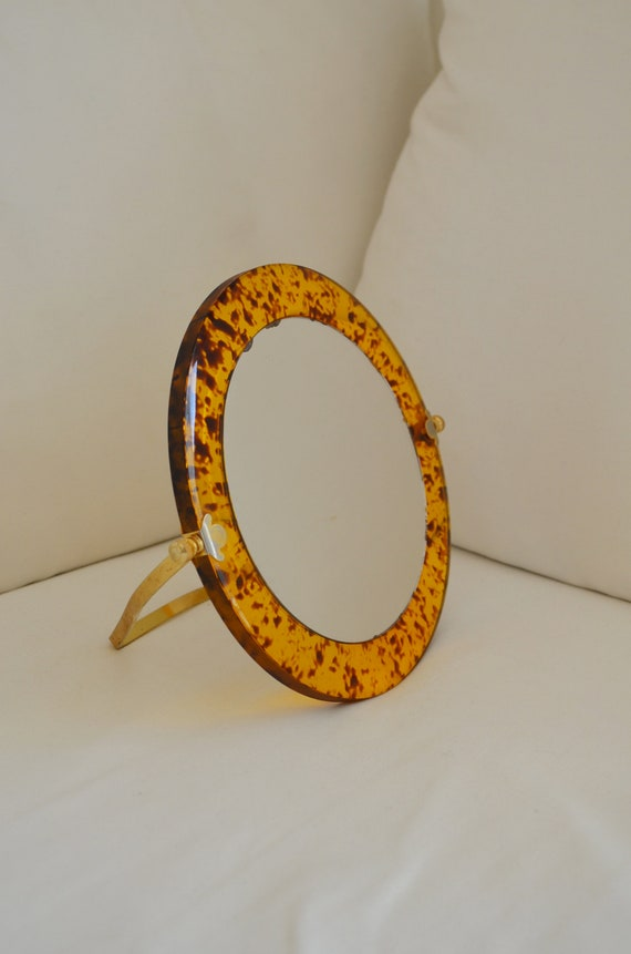 Cosmetic mirror table mirror make-up mirror brass Leo brown gold vintage