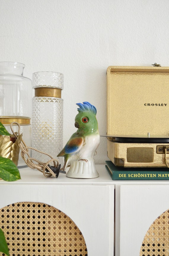 Parrot table lamp in ceramic, vintage bird smoked worker lamp