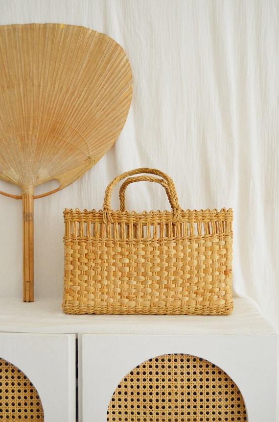 Vintage straw bag handbag basket boho summer