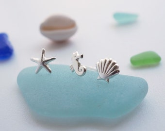 5ca138dc3 Coastal stud earrings. Sterling silver. Starfish seahorse and shell
