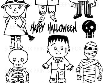 Halloween Black and White Clip Art Clipart Spooky Ghosts