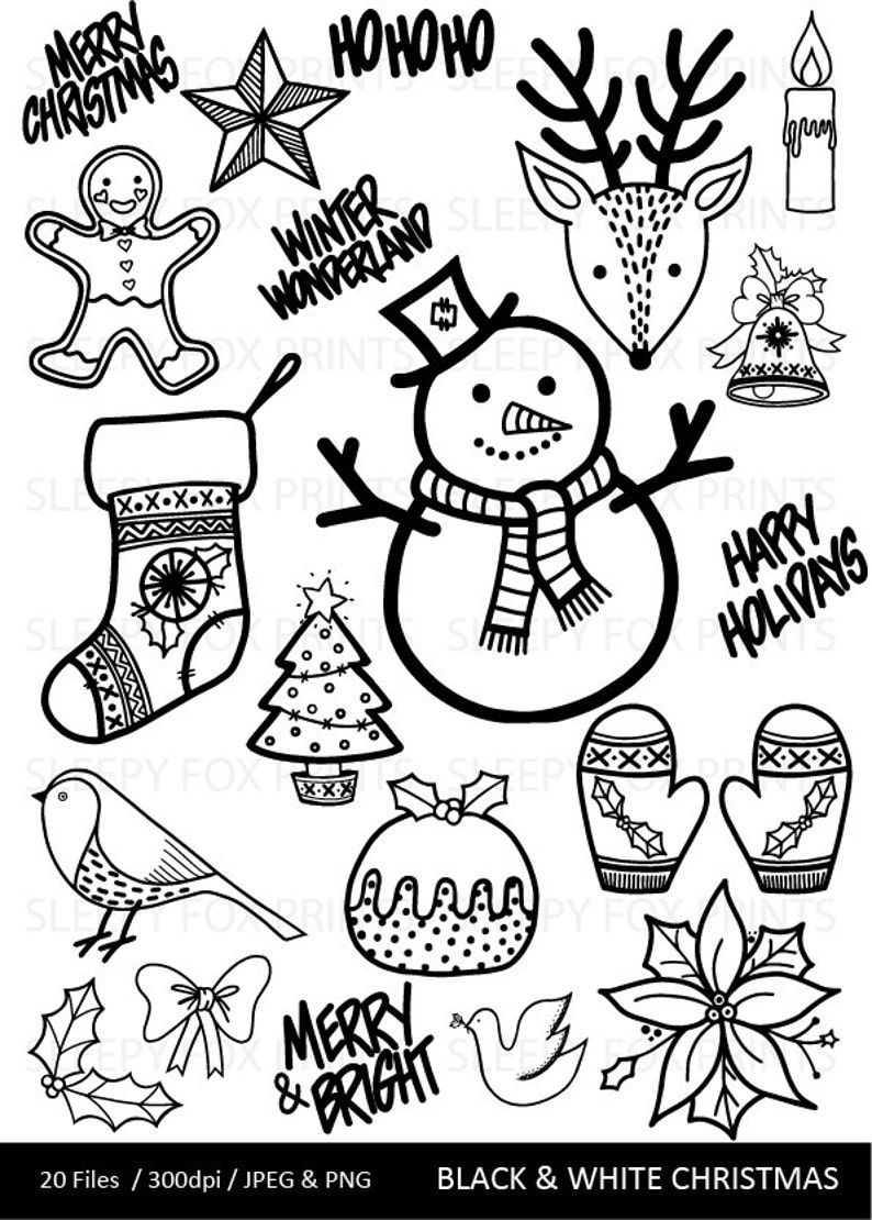 Christmas Clip Art Clipart Christmas Black And White Etsy