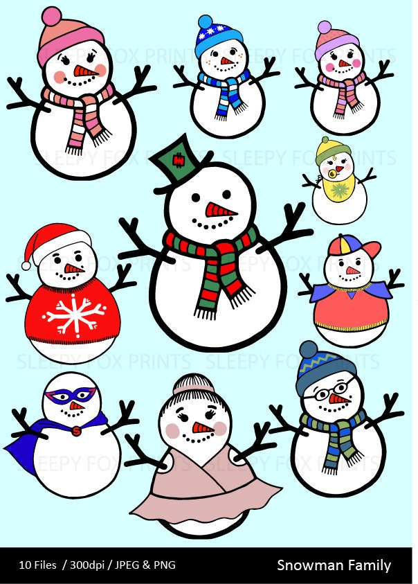 Schneemann Familie Clipart ClipArt Schneemann Weihnachten | Etsy