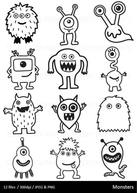 Imágenes Prediseñadas de monstruos blanco y negro monstruo   Etsy