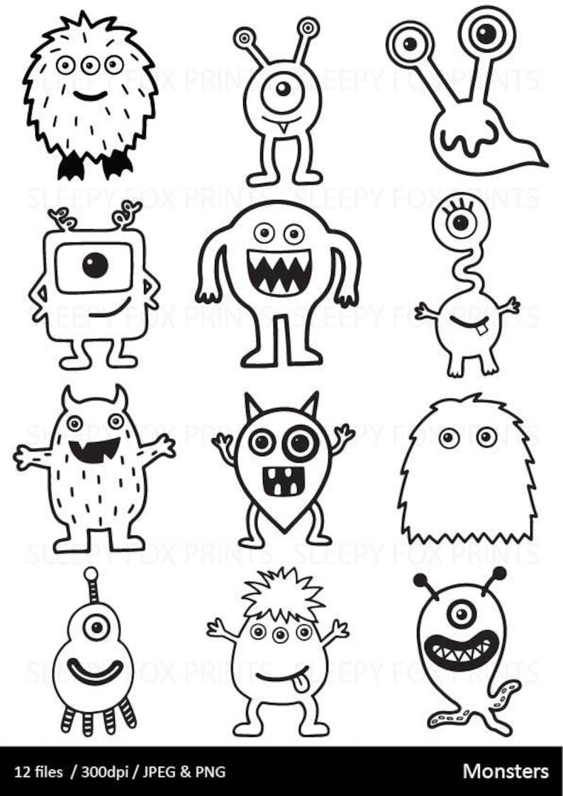 Monsters Clipart Black and White Monster Clip Art | Etsy