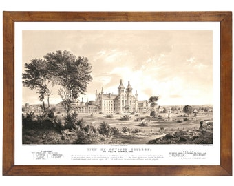 Antioch College, Yellow Springs OH, 1800s; 24x36 inch print reproduced from a vintage lithograph