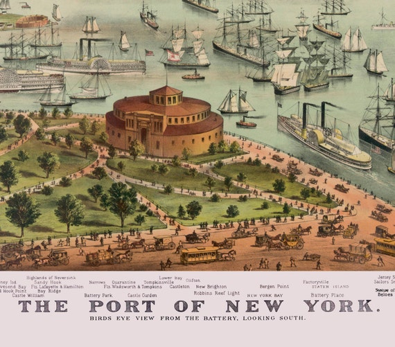 """24x36 1892 /""""Port of New York/"""" from the Battery"""