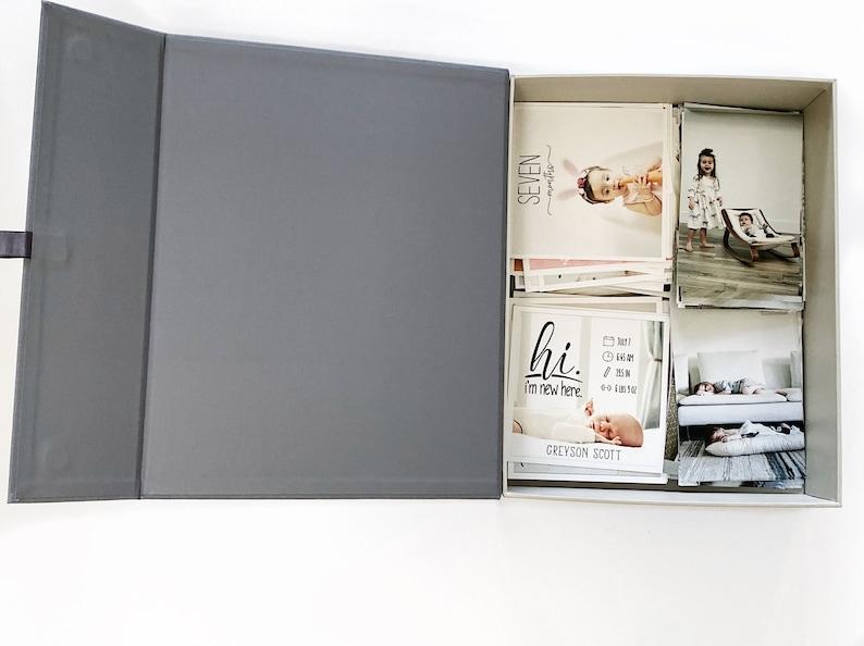 Handmade Fabric Photo Box Organizing Box with Adjustable image 1