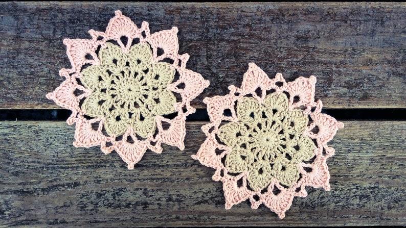 CROCHET PATTERN  Two Color Flower Coaster Written Pattern PDF image 0