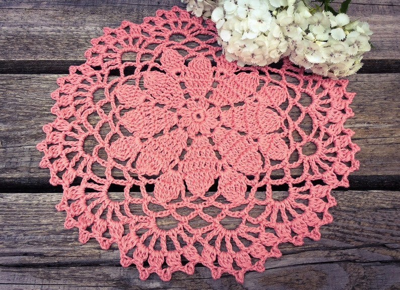 CROCHET PATTERN  Aster Flower Doily Written Pattern PDF image 0