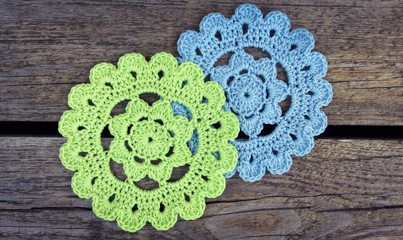 CROCHET PATTERN  Flower Coaster Written Pattern PDF image 0
