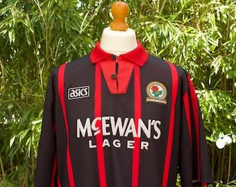 AASICS X BLACKBURN ROVERS Football Away Shirt 1994-95 taille - Extra Large