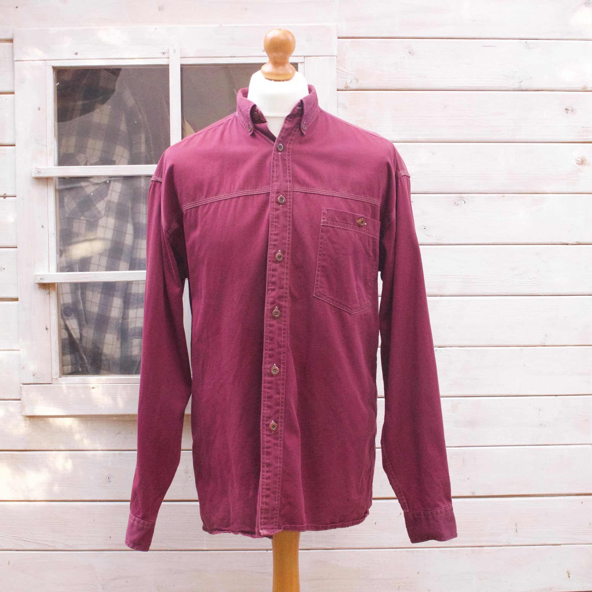 Vintage à manches longues, Bordeaux vers le bas de la taille- chemise  grande taille 32a3cbd8d214