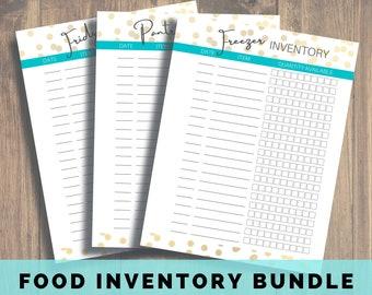 Freezer Inventory, Pantry Inventory, Fridge Inventory, Food Inventory, Kitchen Inventory, Printable Inventory, Food Inventory, Freezer List