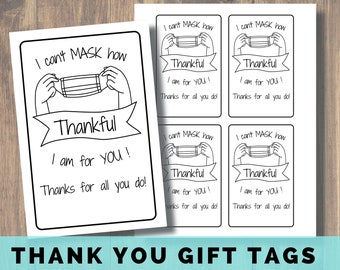 I Can't Mask How Thankful I am for You Printable Coloring Cards, Teacher Gift, Staff Thank You Gift, Face Mask Gift Tag, COVID Thank You