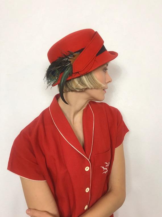 Beautiful vintage feather hat, 1930's hat, Vintage