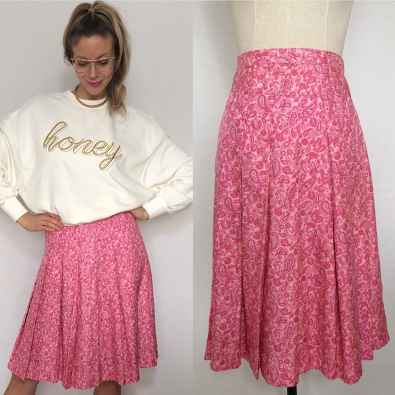 1970's silk skirt, Paisley pattern, Vintage skirt,