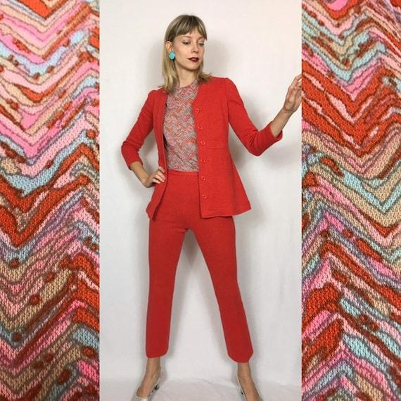 1970's wool suit, Flared pants and jacket, Orange… - image 2