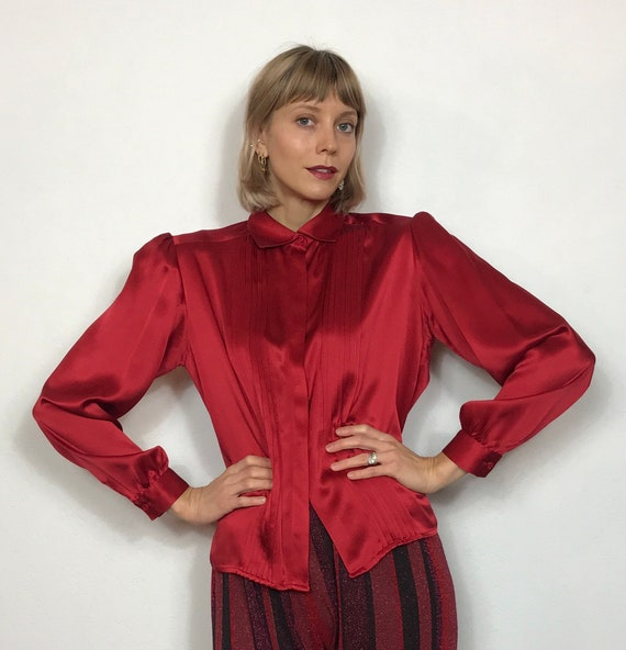 Ruby red 1990's silk blouse, Vintage blouse, Satin
