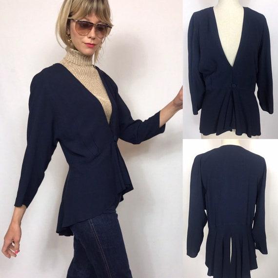 1970's dark blue assymetrical blouse, Vintage blou