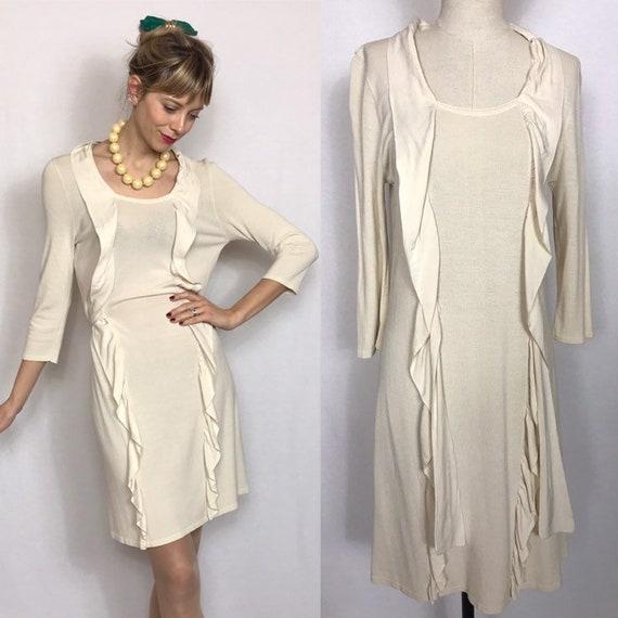 White flounce dress, Sweater dress, Romantic dress