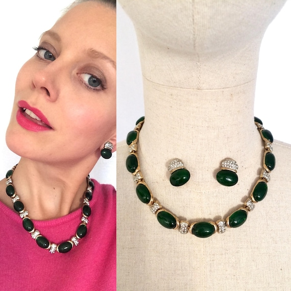 1970s vintage jewelry set, Green stone and rhinest