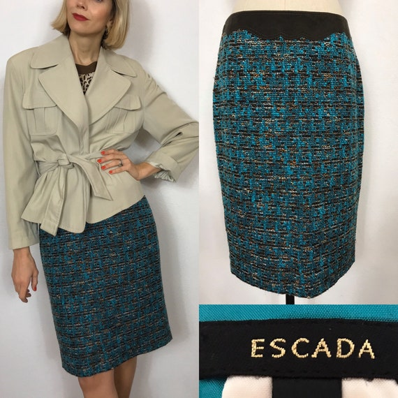 ESCADA tweed and suede skirt, Designer skirt, Wool