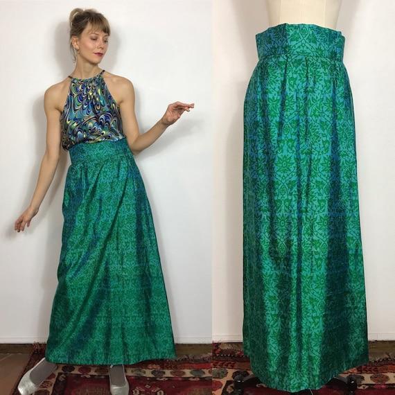 1960's long silk skirt, Vintage skirt, Silk skirt,