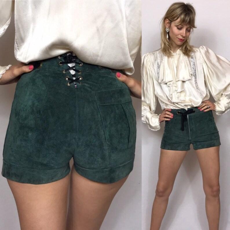 Green shorts. Lederhosen 1960/'s mini suede shorts Suede shirts Vintage shorts