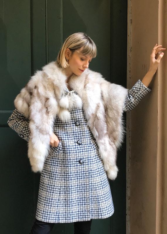 1970's fox fur cape, White fur cape, Vintage fur s
