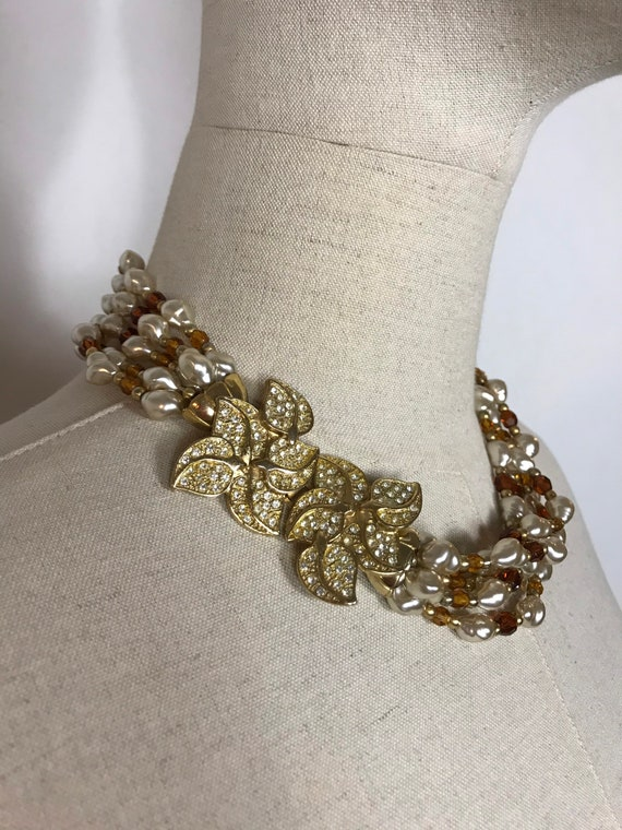 Beautiful 1980's necklace, Vintage necklace, Pearl